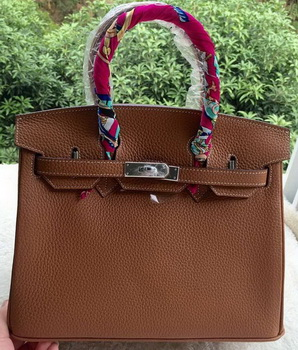 Hermes Birkin 30CM Tote Bags Brown Calfskin Leather BK30 Silver