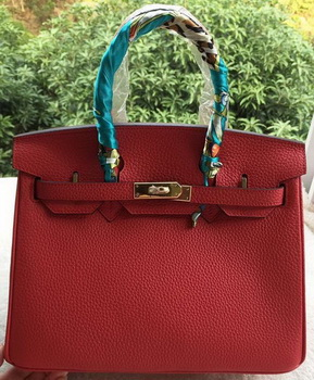 Hermes Birkin 30CM Tote Bags Red Calfskin Leather BK30 Gold