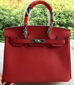 Hermes Birkin 30CM Tote Bags Red Calfskin Leather BK30 Silver