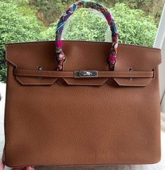 Hermes Birkin 40CM Bag Wheat Litchi Leather BK40 Silver