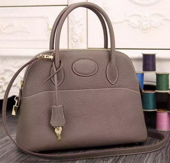 Hermes Bolide 37CM Calfskin Leather Tote Bag B1004 Grey