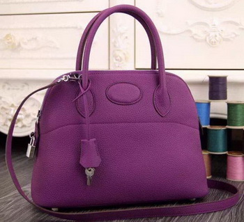 Hermes Bolide 37CM Calfskin Leather Tote Bag B1004 Purple