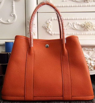 Hermes Garden Party 36cm 30cm Tote Bag Original Leather Orange