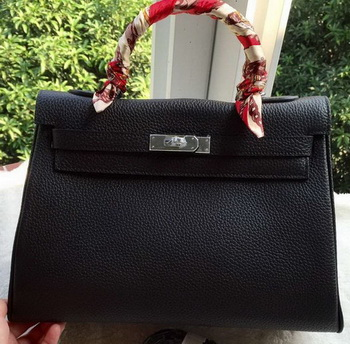 Hermes Kelly 32cm Shoulder Bag Black Calfskin Leather K32CL Silver