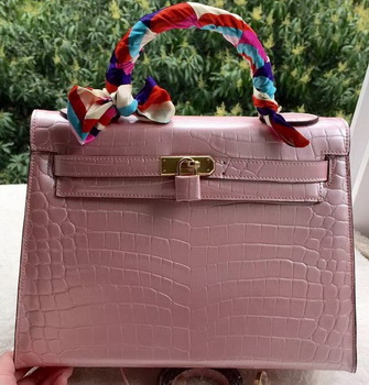 Hermes Kelly 32cm Shoulder Bag Pink Croco Leather K32CL Gold