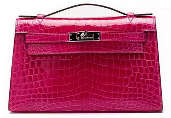Hermes MINI Kelly 22cm Clutch Croco Leather KL22 Rose