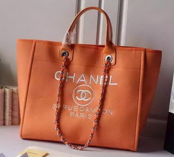 Chanel Large Canvas Tote Shopping Bag A5002 Orange