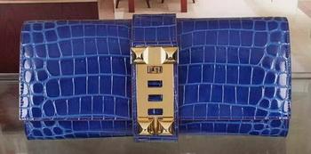 Hermes Croco Leather Clutch H88017 Blue