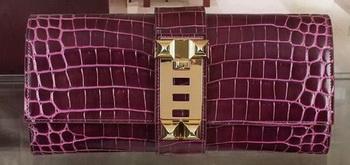 Hermes Croco Leather Clutch H88017 Purple