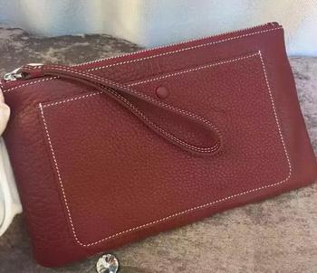 Hermes Grainy Leather Clutch H88016 Burgundy