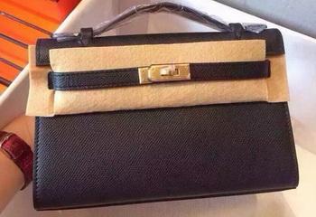 Hermes MINI Kelly 22cm Tote Bag Calfskin Leather K22 Black