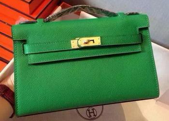 Hermes MINI Kelly 22cm Tote Bag Calfskin Leather K22 Green
