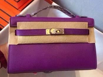 Hermes MINI Kelly 22cm Tote Bag Calfskin Leather K22 Purple