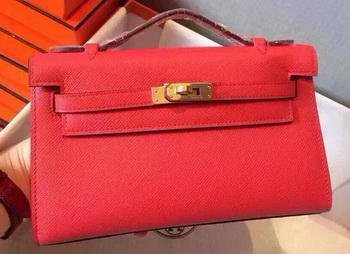 Hermes MINI Kelly 22cm Tote Bag Calfskin Leather K22 Red