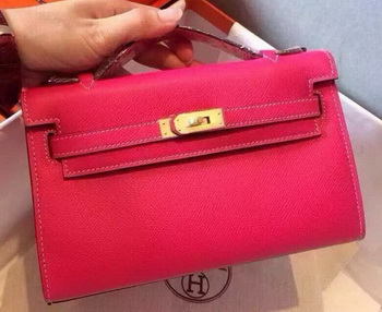 Hermes MINI Kelly 22cm Tote Bag Calfskin Leather K22 Rose