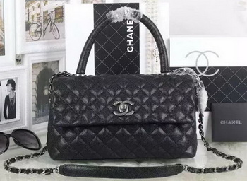 Chanel Classic Top Handle Bag Cannage Pattern A92991 Black