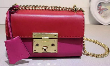 Gucci Padlock Leather Shoulder Bag 409487 Red&Rose