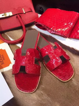 Hermes Slippers Leather HO693 Red