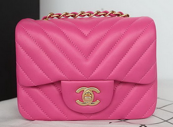 Chanel Classic MINI Flap Bag Sheepskin Leather A1115 Rose