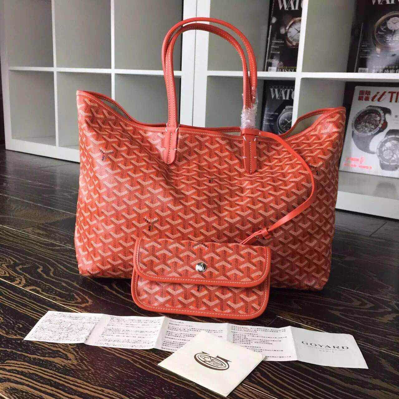 GOYARD Calfskin Leather Top Handle 7901 Orange