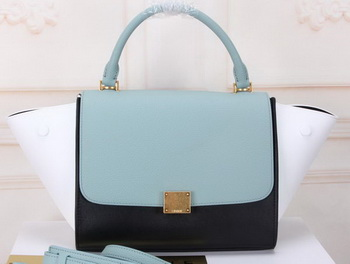 Celine mini Trapeze Bag Original Calfskin Leather CTA3345 SkyBlue&Black&White