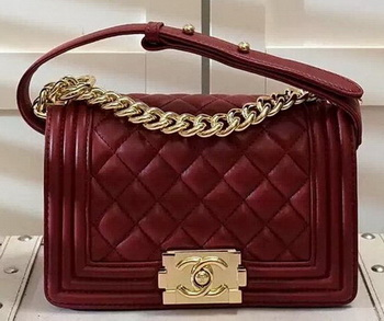 Chanel Boy Flap Shoulder Bag Burgundy Original Sheepskin Leather A67085 Gold
