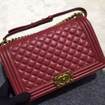Chanel Boy Flap Shoulder Bag Original Sheepskin Leather A67088 Burgundy