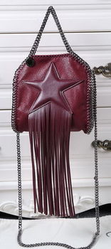 Stella McCartney Falabella Fringed Star Mini Tote Bag SM8855 Burgundy