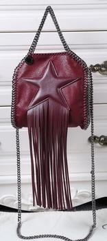 Stella McCartney Falabella Fringed Star Mini Tote Bag SM8855 Burgundy