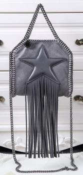 Stella McCartney Falabella Fringed Star Mini Tote Bag SM8855 Dark Grey