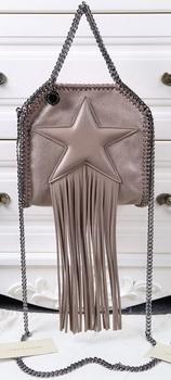 Stella McCartney Falabella Fringed Star Mini Tote Bag SM8855 Khaki