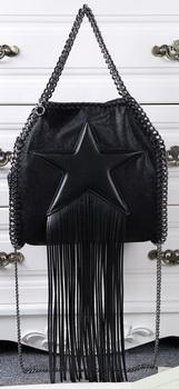 Stella McCartney Falabella Fringed Star Mini Tote Bag SM8865 Black