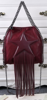 Stella McCartney Falabella Fringed Star Mini Tote Bag SM8865 Burgundy