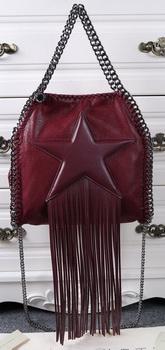 Stella McCartney Falabella Fringed Star Mini Tote Bag SM8865 Burgundy