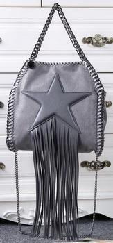 Stella McCartney Falabella Fringed Star Mini Tote Bag SM8865 Dark Grey