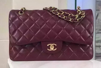 Chanel Jumbo Classic Flap Bag Burgundy Sheepskin Leather A1113 Gold