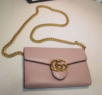 Gucci GG Marmont Leather mini Chain Bag 401232 Pink
