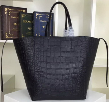 Celine Cabas Phantom Bags Croco Leather C2206 Black