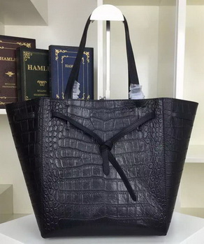 Celine Cabas Phantom Bags Croco Leather C2208 Black