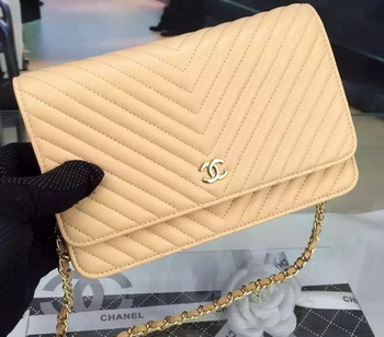 Chanel mini Flap Bag Chevron Leather A33814 Apricot