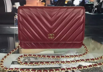 Chanel mini Flap Bag Chevron Leather A33814 Burgundy