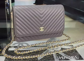 Chanel mini Flap Bag Chevron Leather A33814 Grey