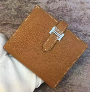 Hermes Bi-Fold Wallet Togo Leather H512 Brown