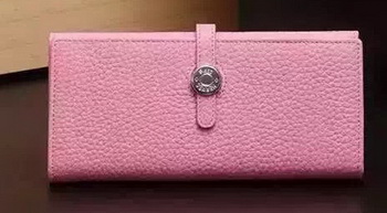 Hermes Dogon Original Leather Wallet H509 Pink