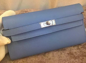 Hermes Kelly Wallet Epsom Leather H009 Light Blue