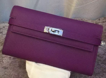Hermes Kelly Wallet Epsom Leather H009 Purple