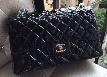 Chanel Classic Flap Bag Black Original Patent Leather A1113 Silver