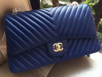 Chanel Classic Flap Bag Blue Sheepskin Chevron Quilting A1113 Gold