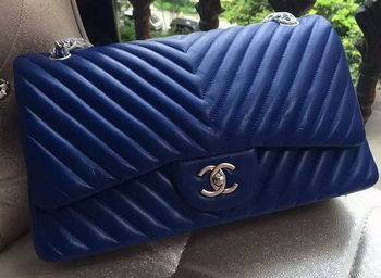 Chanel Classic Flap Bag Blue Sheepskin Chevron Quilting A1113 Silver