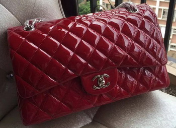 Chanel Classic Flap Bag Burgundy Original Patent Leather A1113 Silver